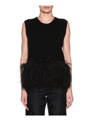 No. 21 Scoop-Neck Wool Feather Tank