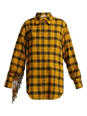 No. 21 sequinned checked cotton shirt