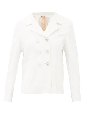 No. 21 tailored crystal-button crepe jacket
