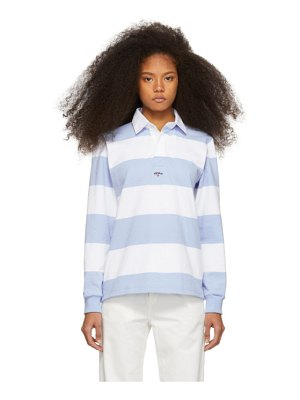 Noah Nyc blue and white striped rainbow logo rugby polo