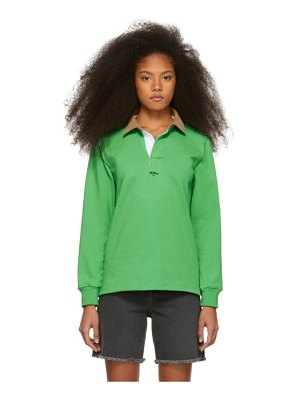Noah Nyc green corduroy collar rugby polo
