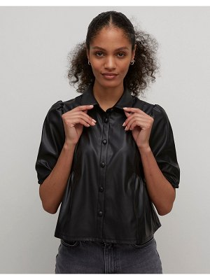 Nobody's Child blouse with puff sleeves in faux leather-black