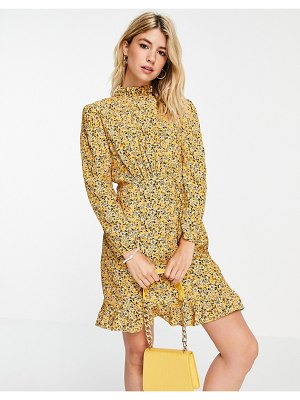 Nobody's Child high neck mini tea dress in yellow floral