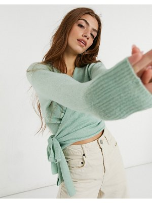 Nobody's Child knitted wrap sweater in mint-green