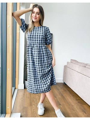 Nobody's Child midi smock dress with volume sleeves in blue gingham-blues
