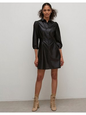 Nobody's Child shirt dress in faux leather-black