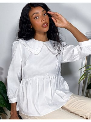 Nobody's Child smock blouse with ruffle collar-white