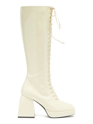 NODALETO bulla ward lace-up knee-high leather boots