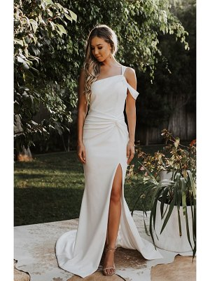 Noel and Jean by Katie May regal one shoulder trumpet wedding dress
