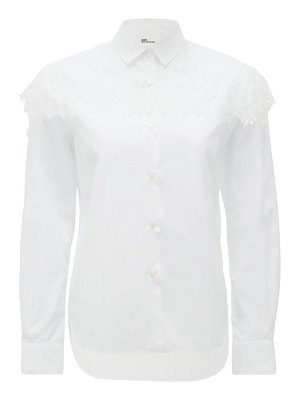 noir kei ninomiya chantilly-lace trimmed cotton blouse