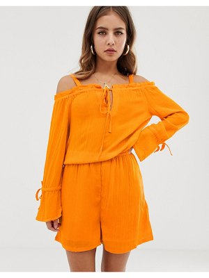 Noisy May alberte cold shoulder romper-orange