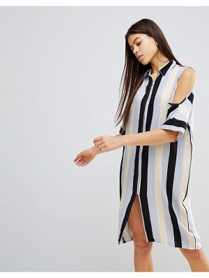 Noisy May cold shoulder stripe dress
