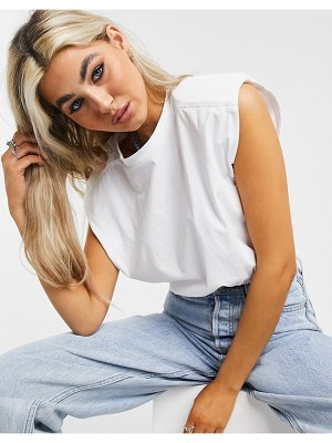 Noisy May crop top with padded shoulders in white