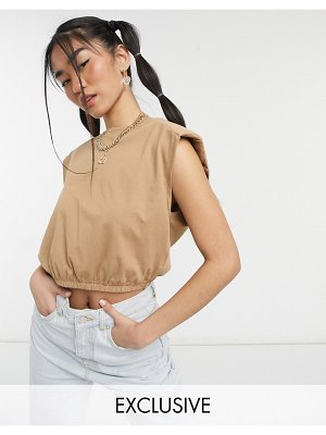 Noisy May exclusive crop top with padded shoulders in camel-brown