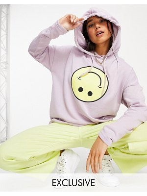 Noisy May exclusive hoodie with smiling face graphic in lilac-purple