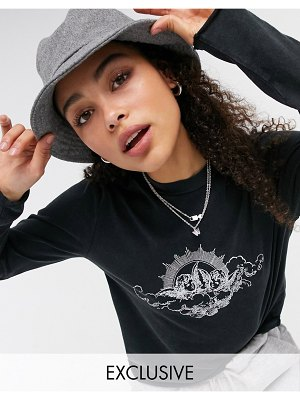 Noisy May exclusive oversized t-shirt with cherub motif in black-grey
