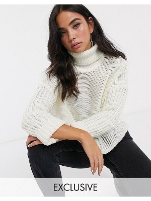 Noisy May sweater with roll neck in cream-green