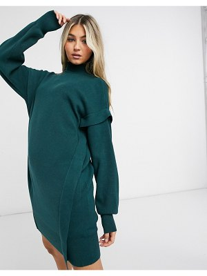 Noisy May knit sweater dress with high neck in dark green