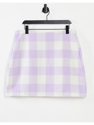 Noisy May mini skirt in lilac check