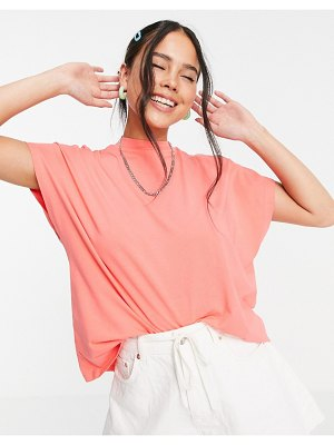 Noisy May organic cotton high neck t-shirt in washed orange