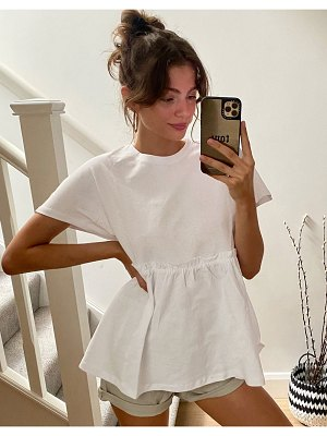 Noisy May smock t-shirt with peplum in white