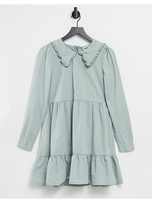 Noisy May tiered smock dress with prairie collar in slate gray-grey