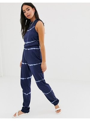 Noisy May willow tie dye jumpsuit-navy