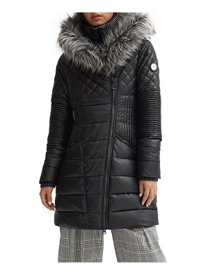 NOIZE kiki quilted water resistant parka with faux fur hood