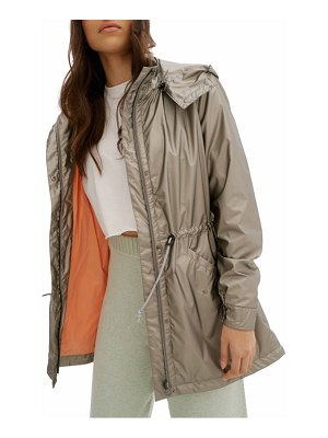 NOIZE metallic water resistant raincoat with removable hood