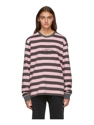 Noon Goons grey and pink stripe jalama long sleeve t-shirt