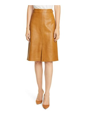 Nordstrom Signature buckle detail leather skirt