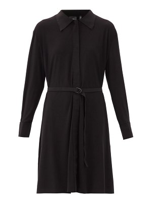 Norma Kamali boyfriend belted jersey shirt dress