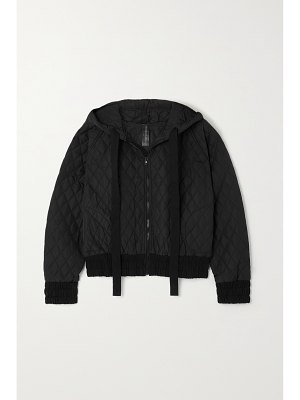 Norma Kamali cropped hooded quilted shell bomber jacket
