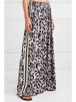 Norma Kamali elephant striped leopard-print stretch-jersey wide-leg pants