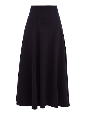 Norma Kamali grace raw-seam flared midi skirt