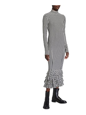 Norma Kamali Houndstooth Fishtail Ruffle Hem Turtleneck Dress
