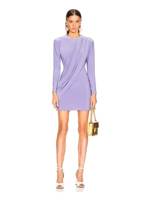 Norma Kamali Long Sleeve Draped Mini Dress
