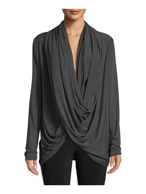Norma Kamali Long-Sleeve Jersey Wrap Cardigan