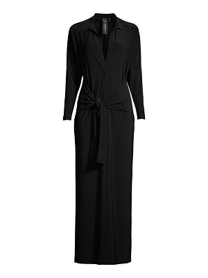 Norma Kamali long-sleeve knotted shirt dress