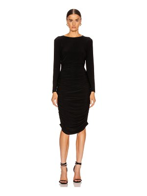 Norma Kamali long sleeve shirred dress