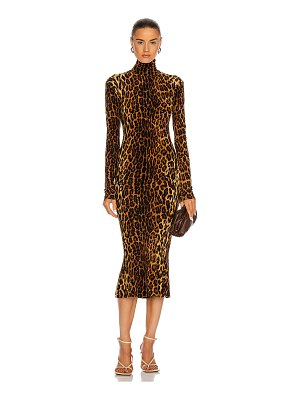 Norma Kamali long sleeve turtleneck fishtail dress