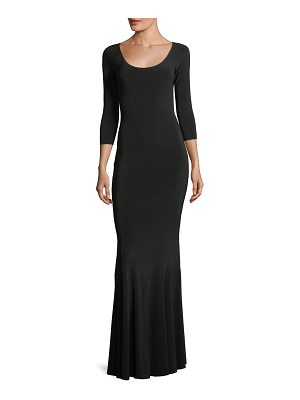Norma Kamali Reversible Fishtail Scoop-Neck Gown