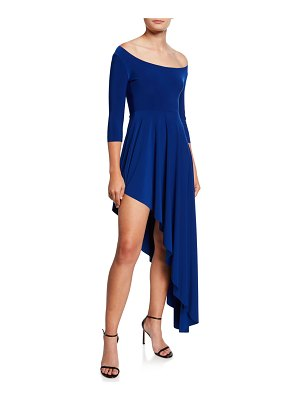 Norma Kamali Reversible Scoop-Neck 3/4-Sleeve Asymmetric Diagonal Flared Dress