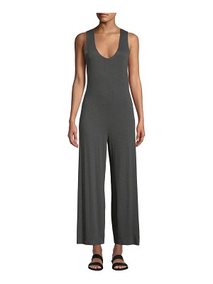 Norma Kamali Scoop-Neck Sleeveless Cropped Jumpsuit w/ Crossed Back
