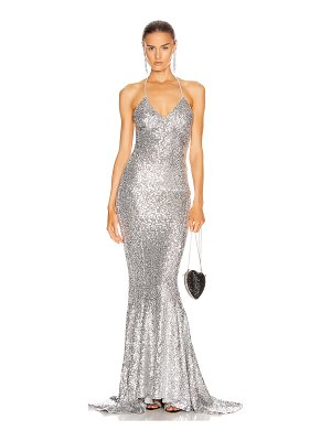 Norma Kamali sequin low back slip mermaid fishtail gown