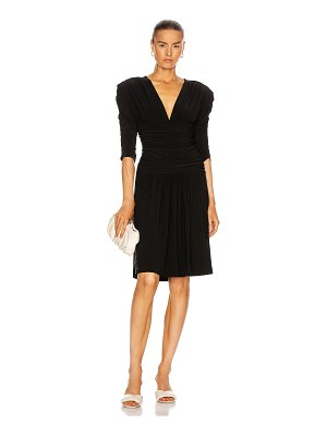 Norma Kamali shirred sleeve v neck shirred waist dress