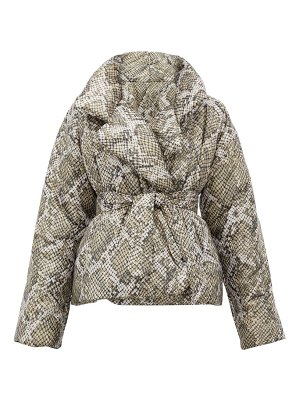 Norma Kamali sleeping bag snakeskin-print padded shell coat