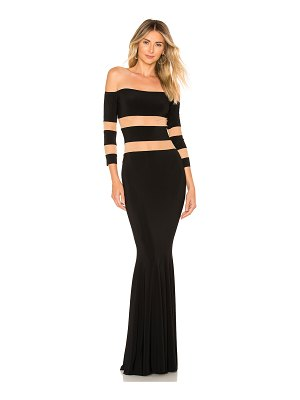 Norma Kamali Spliced Off Shoulder Fishtail Gown