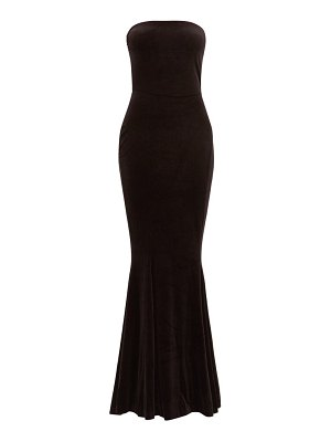 Norma Kamali strapless fishtail velvet dress