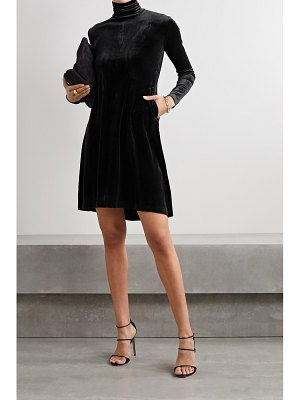Norma Kamali stretch-velvet turtleneck mini dress